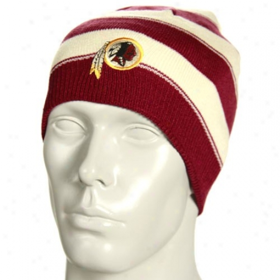 Redskin Gear: Reebok Redskin Stone Cuffless Thick Striped Reversible Knit Beanie