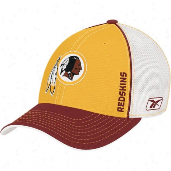 Redskin Hat : Reebok Redskin Gold Youth 2008 Drawing Day Flex Interval Mesh Hat