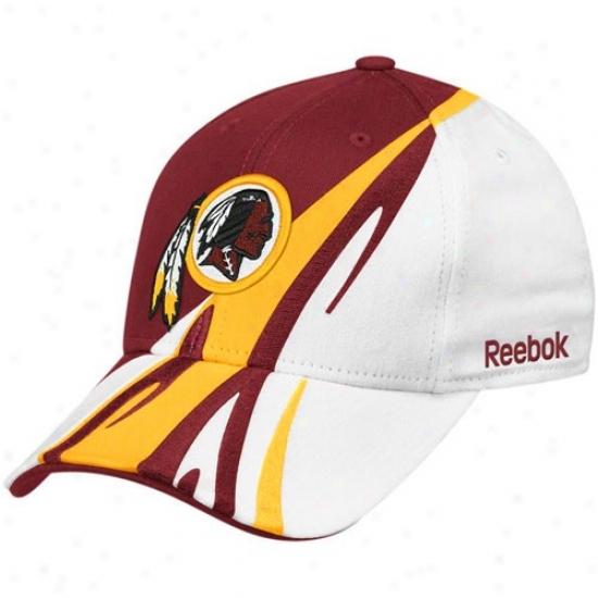 Redskin Hats : Reebok Reddskin White-burgundy Cut & Sew Adjustable Hats