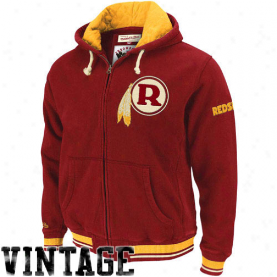 Rsdskin Hoodies : Mitchell & Ness Redskin Butvundy Standing Room Premium Full Zip Hodies Jerkin