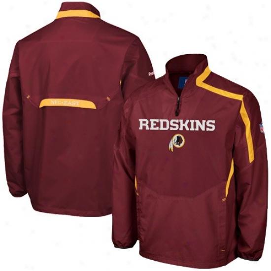 Redskin Jackets : Reebok Redskin Burgundy Throttle 1/4 Zip Pullover Hot Jackets