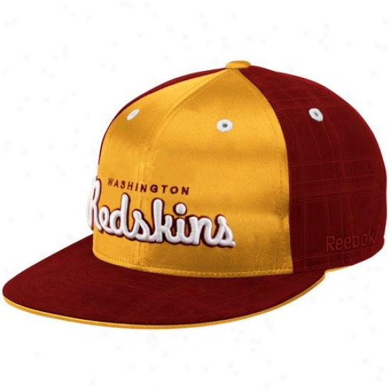 Redskin Merchandise: Reebok Redskin Burhundy-gold Fashion Flat Bill Fitted Hat
