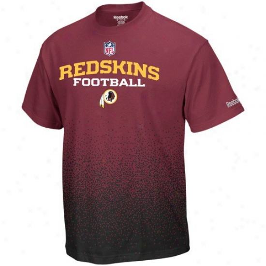 Redskib T Shirt : Reebok Redskin Youth Burgundy Drift Sideline T Shirt