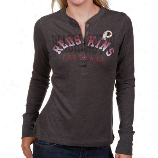 Redsjin Tees : Redskin Ladies Charcoal Game Day Gal Long Sleeve Heathered Henley Tees
