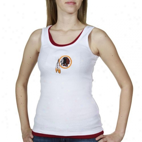 Redskin Tees : Reebok Redskin Ladies White-burgundy Heritae Tank Top