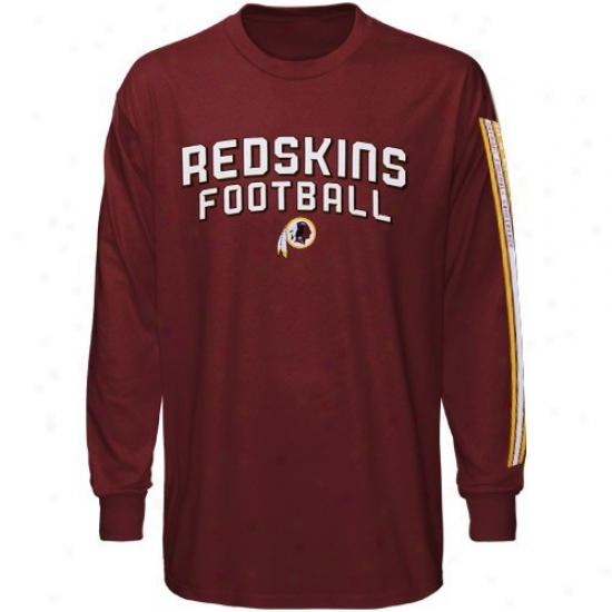 Redskins Apparel: Reebok Redskins Youth Burgundy Stacks Long Sleeve T-shirt