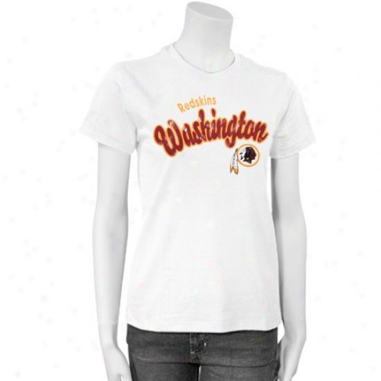 Redskins Attire: Redskins Ladies White Distressed Script T-shirt