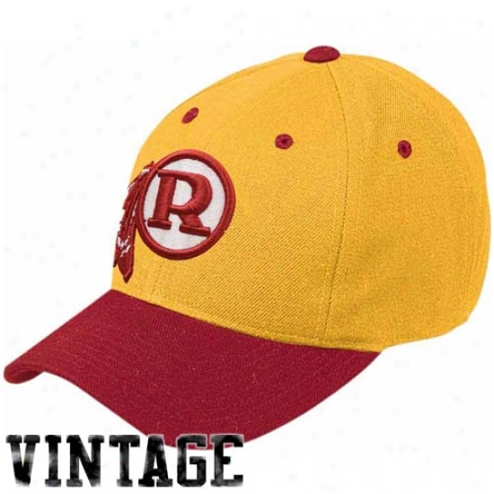 Redskins Hats : Reebok Redskins Gold-burgundy Retro Wool Blend Adjustabie Hats