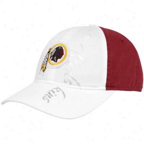 Redskins Hats : Reebok Redskins Ladies White-burgundy Slouch Adjustable Hats