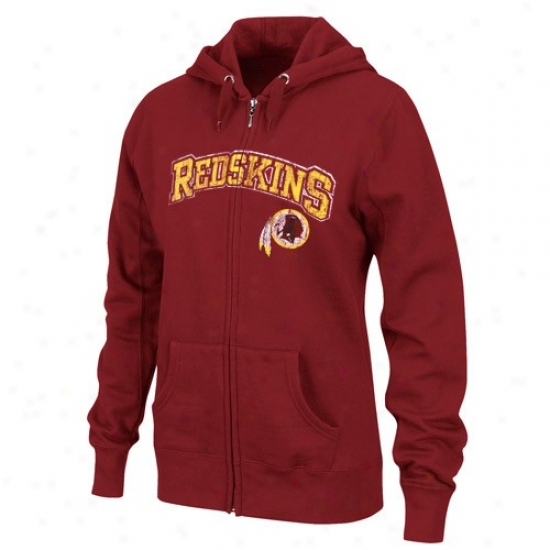 Redskins Hoodie : Redskins Ladies Burgundy Classic Football Ii Distressed Full Zip Hoodie