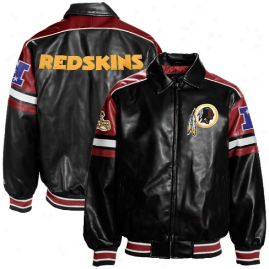 Redskins Jacket : Redskins Dark Pleather Varsity Full Zip Jacket