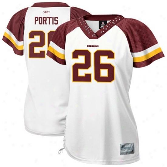 Redskins Jerseys : Reebok Redskins #26 Clinton Portis Ladies White Fjeld Flirt Premium Fashion Jerseys