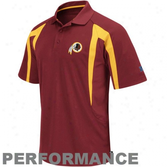 Redskins Polos : Redskins Burgundy Field Classic Iii Performance Polos