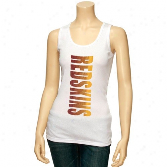 Redskins Shirts : Redskins Ladies Whiye Oversize Graphic Cistern Top