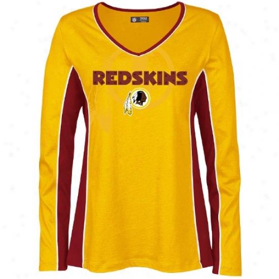 Redskins Tee : Redskins Ladies Gold Prized Possession Long Sleeve Premium Tee