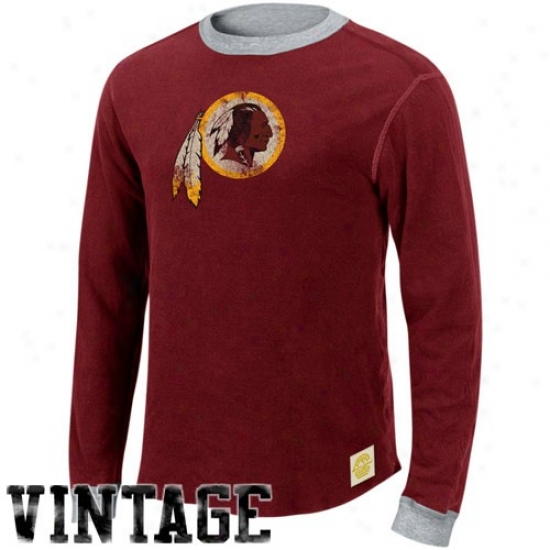 Redskins Tee : Reebok Redskins Burgundy-ash Reversible Double Khit Throughout Sleece Vintage Tee