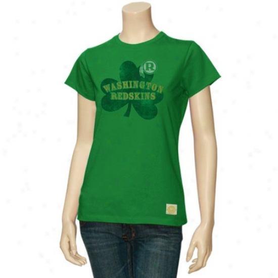 Redskins Tee : Reebok Redskins Ladies Kelly Green Crazy Clover Tee