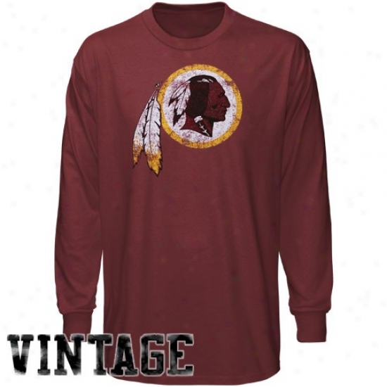 Redskins Tee : Reebok Redskins Youth Burgundy Faded Logo Long Sleeve Tee