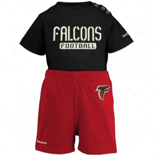 Reebok Atlanta Falcons Infant Black-red Crew Creeper & Shorts Set
