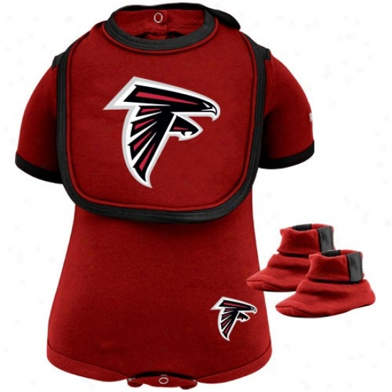 Reebok Atlanta Falcons Infant Red 3-piece Creeper, Bib & Booties Set