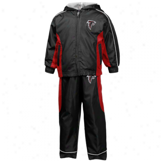 Reebok Atlanta Falcons Toddler Black Full Zip Hoody Wind Jacket & Pants Set