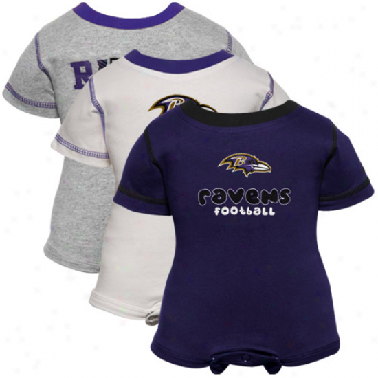 Reebok Baltimore Ravens Newborn Purple, White & Ash 3-pack Creeper Set