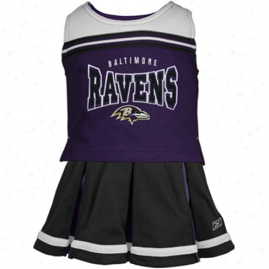 Reebok Baltimore Ravens Toddler Purple-black 2-piece Cheerleader Tank Top & Smirt