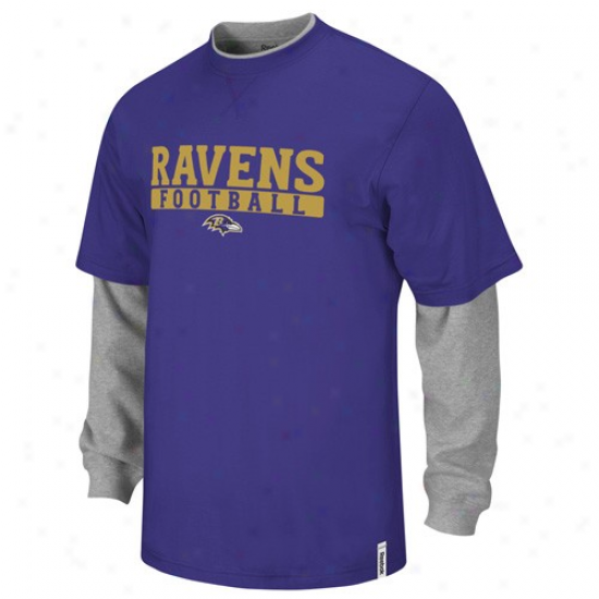 Reebok Baltimore Ravens Youth Purple-ash Splitter Double Layer T-shirt