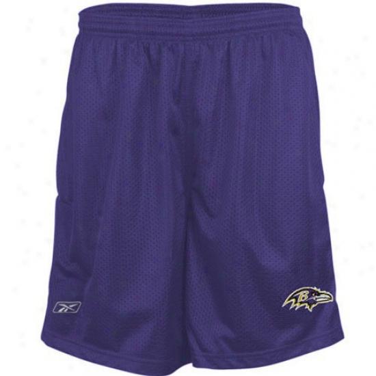 Reebok Baltimore Ravens Youth Purple Coaches Mesh Shorts