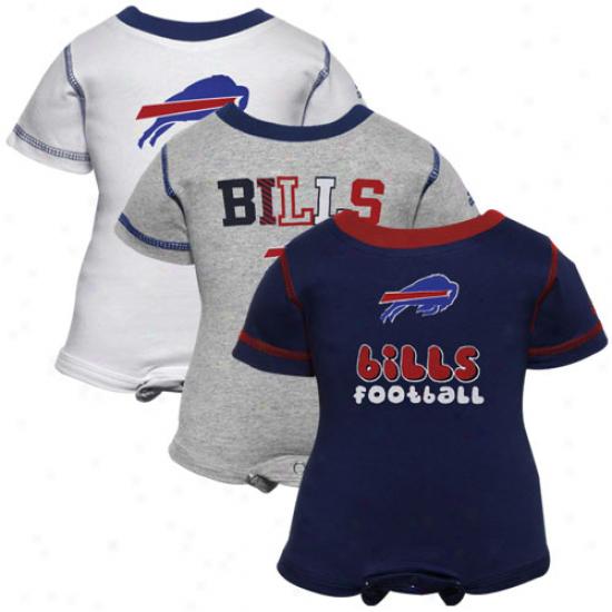 Reebok Buffalo Bills Infant Navy Dismal, White & Ash 3-pack Creeper Set