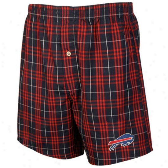 Reebok Buffalo Bills Navy Blue Plaid Adventure Boxer Shorts
