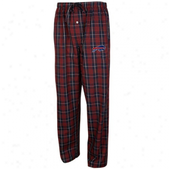 Reebok Buffalo Bi1ls Navy Blue Plaid Genuine Pajama Pants