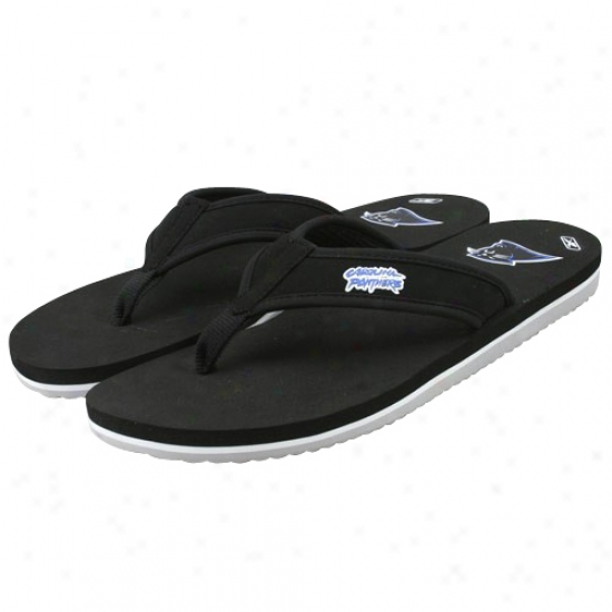 Reebok Carolina Panthers Black Summertime Flip Flos