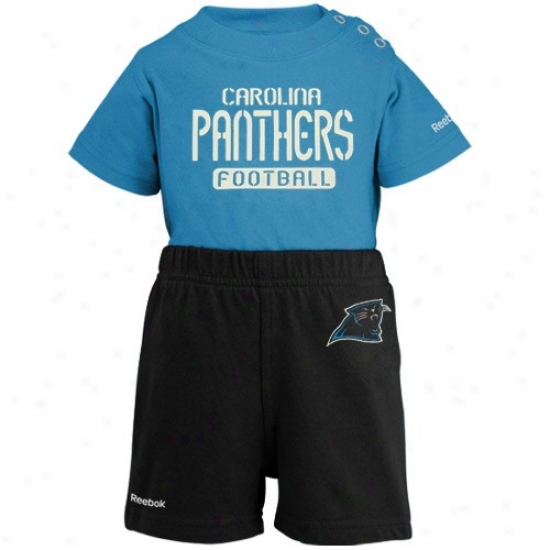 Reebok Carolina Panthers Toddler Light Blue-black Crew Creeper & Shorts Set