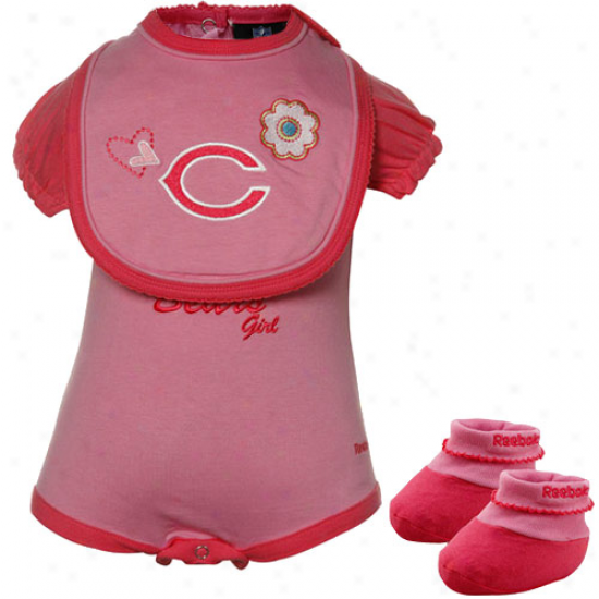 Reebok Chicago Bears Babe Girls Pink Three Piece Creeper Set