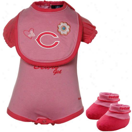 Reebok Chicago Bears Babe Girls Pink Three Piece Creeper Set
