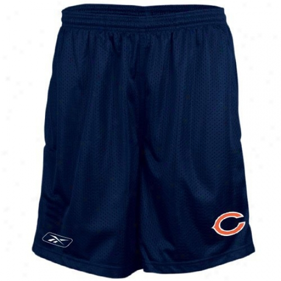 Reebok Chicago Bea5s Navy Blue Youth CoachesM esh Shorts