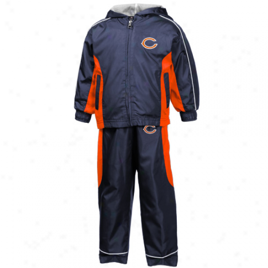 Reebok Chicago Bears Toddler Navy Blue Ful Zip Hoody Wind Jacket & Pants Set