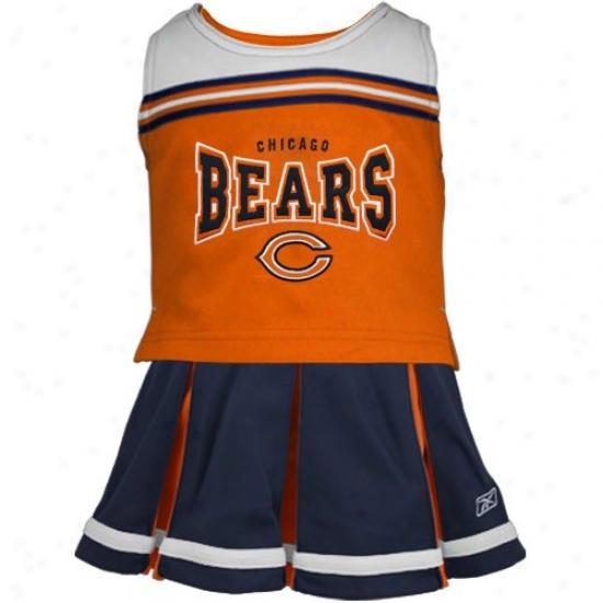 Reebok Chicago Bears Toddler Orange-navy Blue 2-piece Cheerleader Tank Top & Skirt
