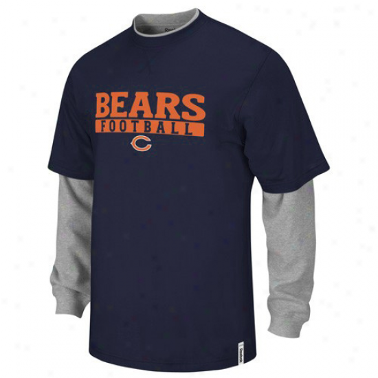 Reebok Chicago Bears Youth Navy Blue -ash Splitter Double Layer T-shirt