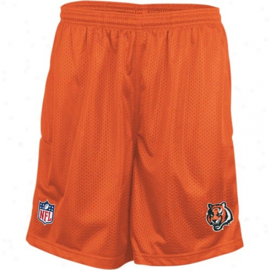 Reebok Cincinnati Bengals Orange Coaches Mesh Shorts