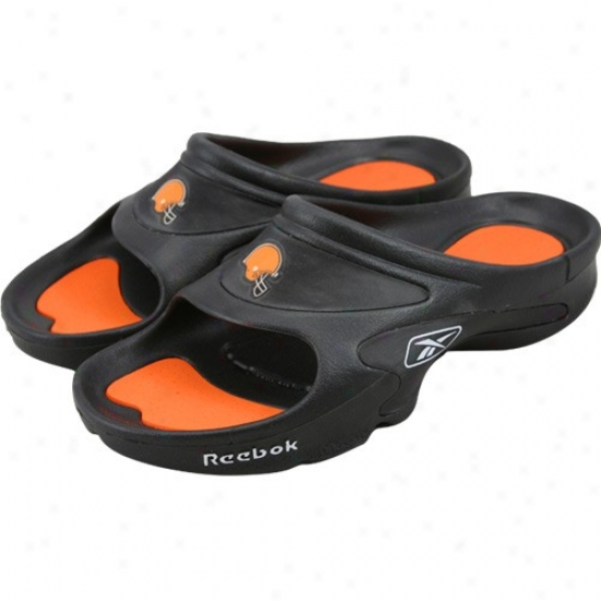 Reebok Cleveland Browwns Black Nfl Mojo Slide Sandals