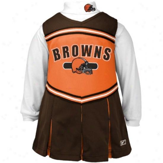 Reebok Cleveland Browns Brown Preschkol 2-piece Cheerleader Dress