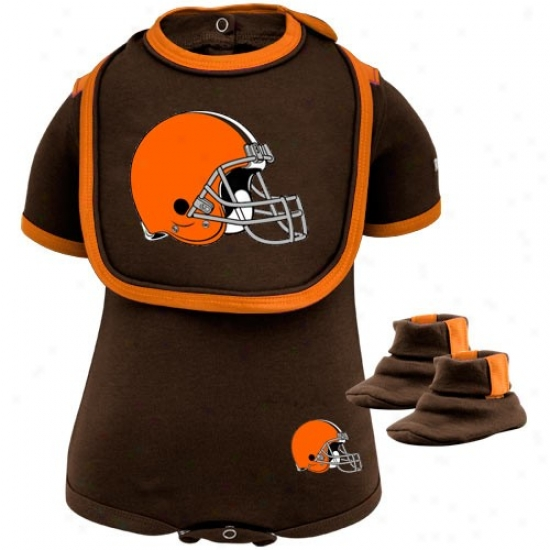 Reebok Cleveland Browns Infant Bdown 3-piece Creeper, Bib & Booties Set