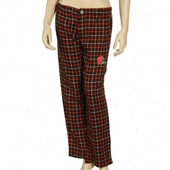 Reebok Cleveland Browns Ladies Brown Roll Call Plaid Pajama Pants