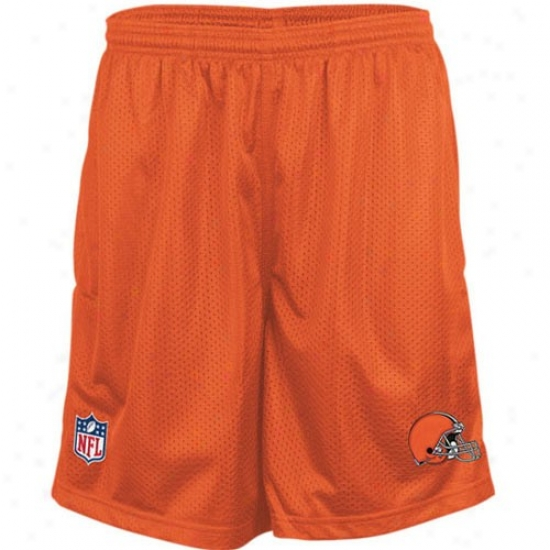 Reebok Cleveland Browns Orange Coaches Mesh Shorts