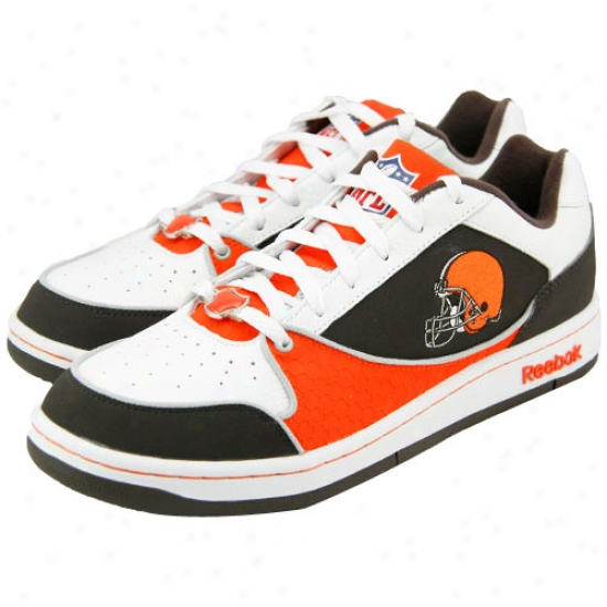 Reebok Cleveland Browns White-orange-brown Recline Ph3 Tennis Shoes