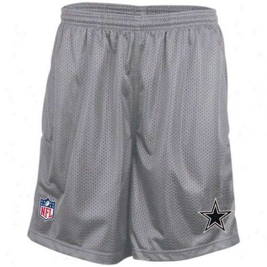Reebok Dallas Cowboys Gray Coaches Mesh Shorts