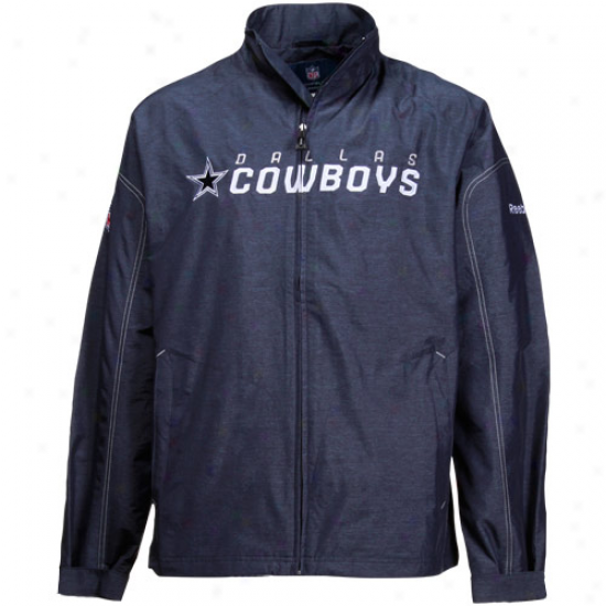 Reebok Dallas Cowboys Navy Blue Sideline Lightweight Full Zip Winnd Jacket