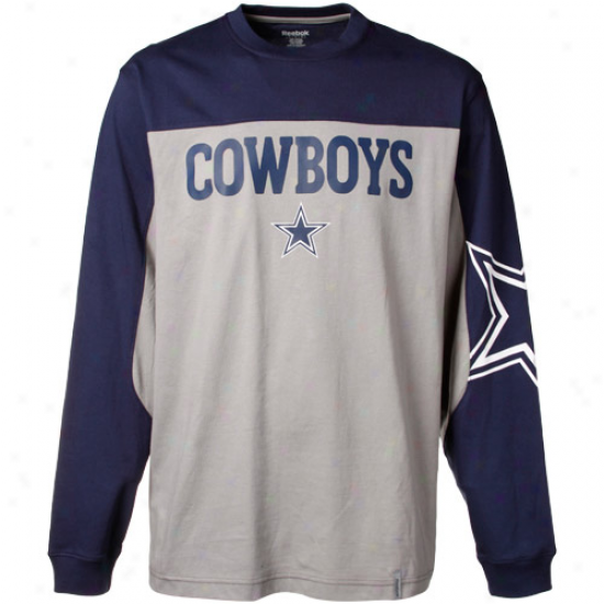 Reebok Dallas Cowboys Navy Blue-silver Arena Protracted Sleeve T-shirt